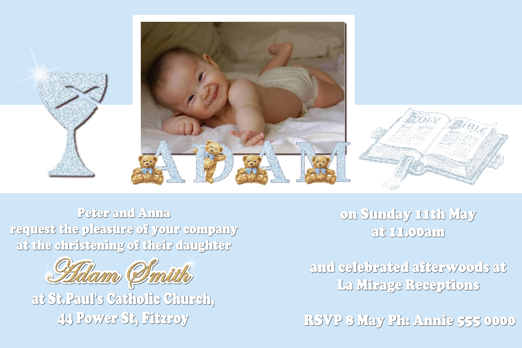 Christening Invitations (C10) | Funnyshots Party Invitations
