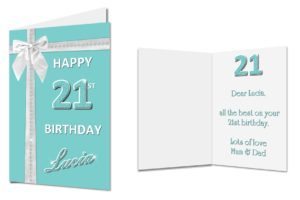 personalised 21st birthday card