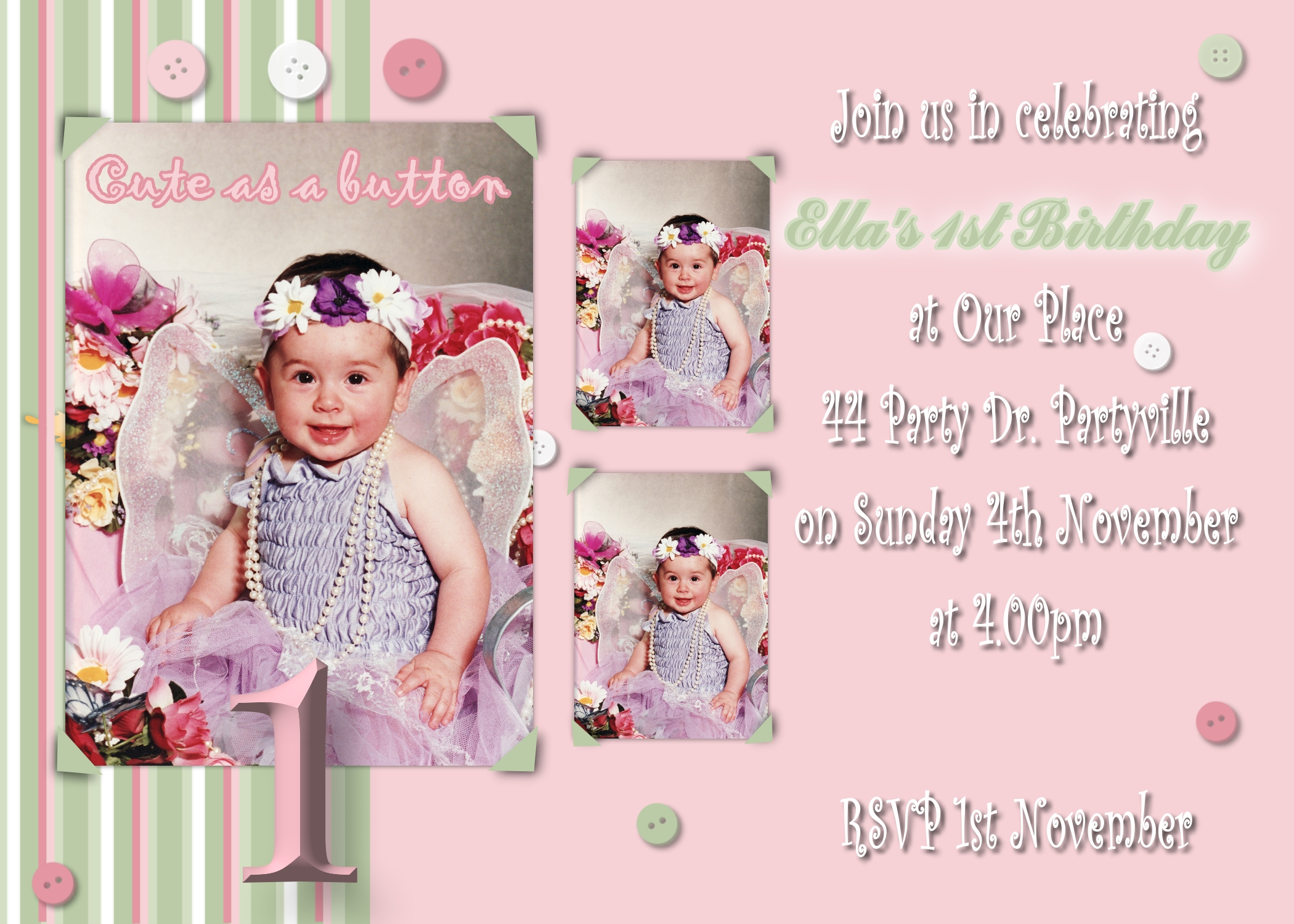 1st Birthday Invitations 1B23