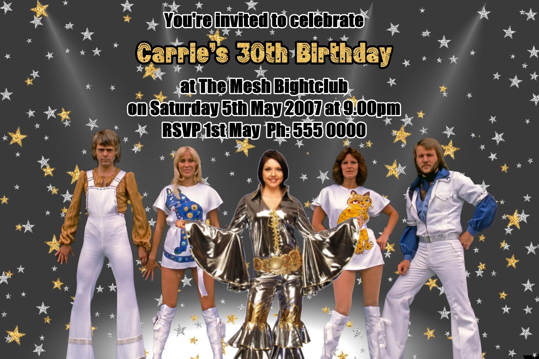 abba invitations party invites