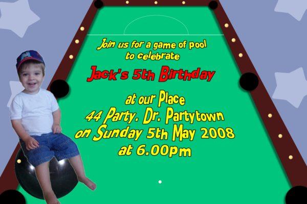 billiards invitations