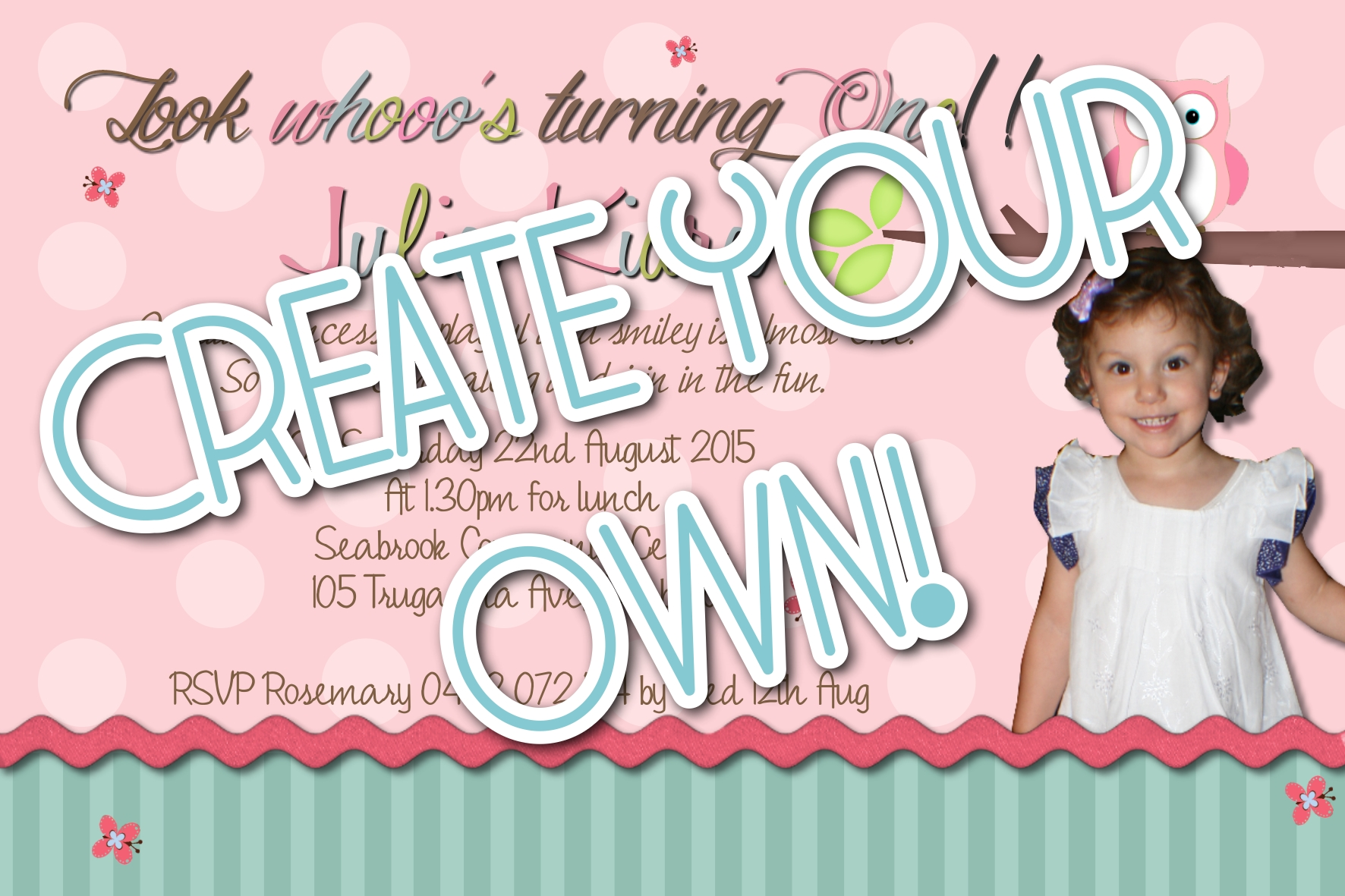 1. Create Your Own! 1st Birthday Invitation | Funnyshots Party ...