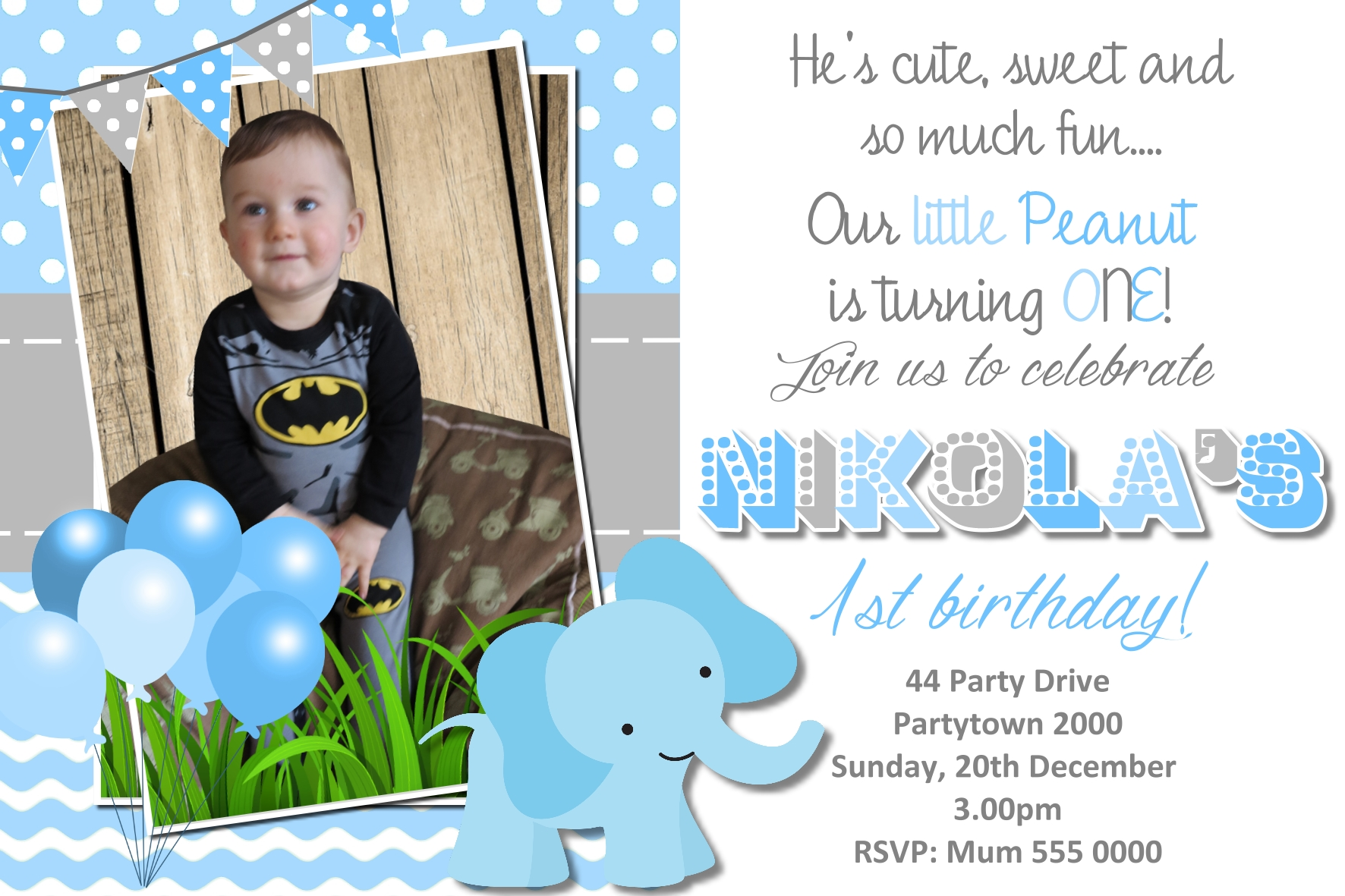 Cute first birthday invitation funnyshots party invitations cute first birthday invitation filmwisefo