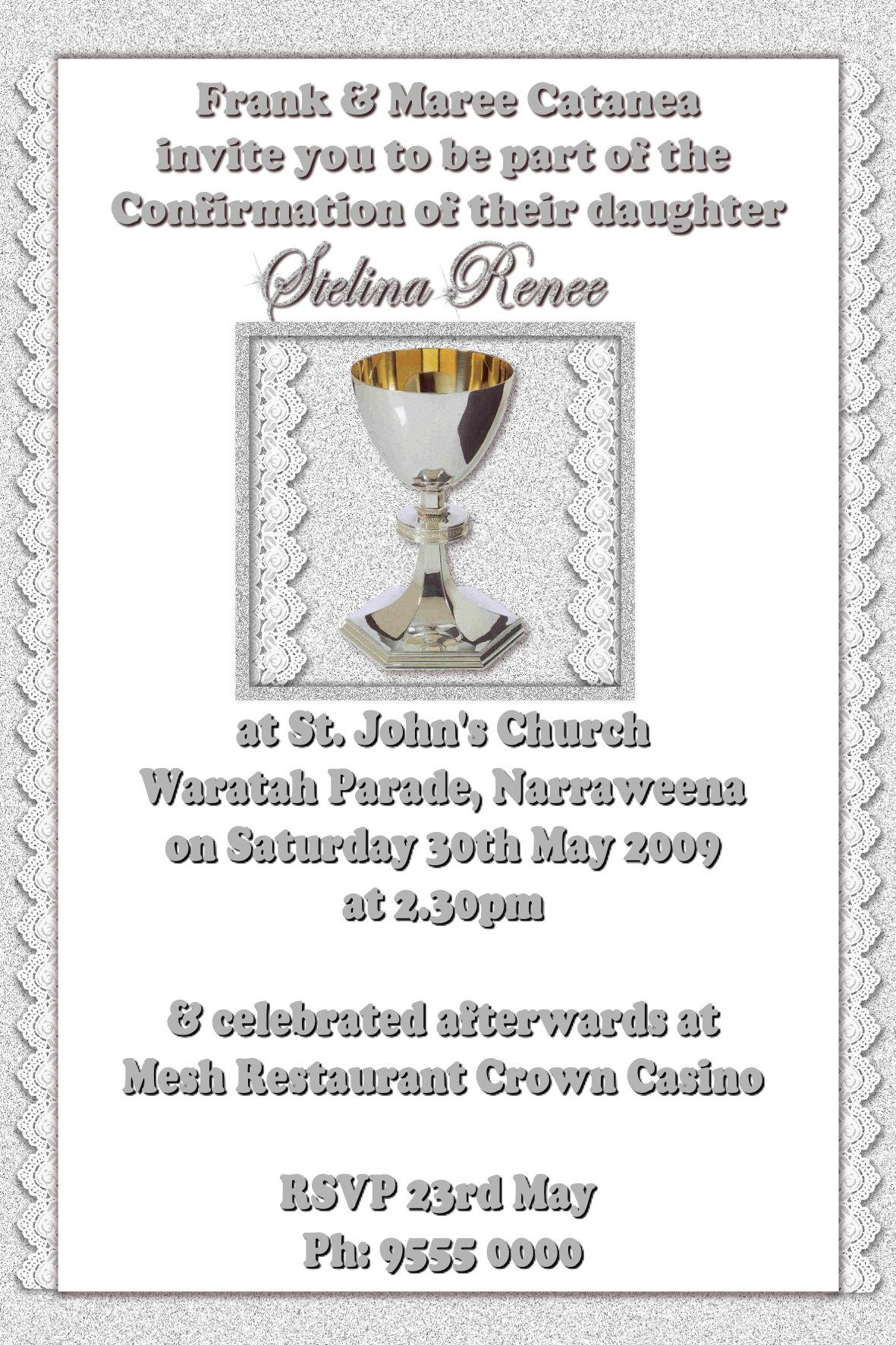communion/Confirmation Invitations