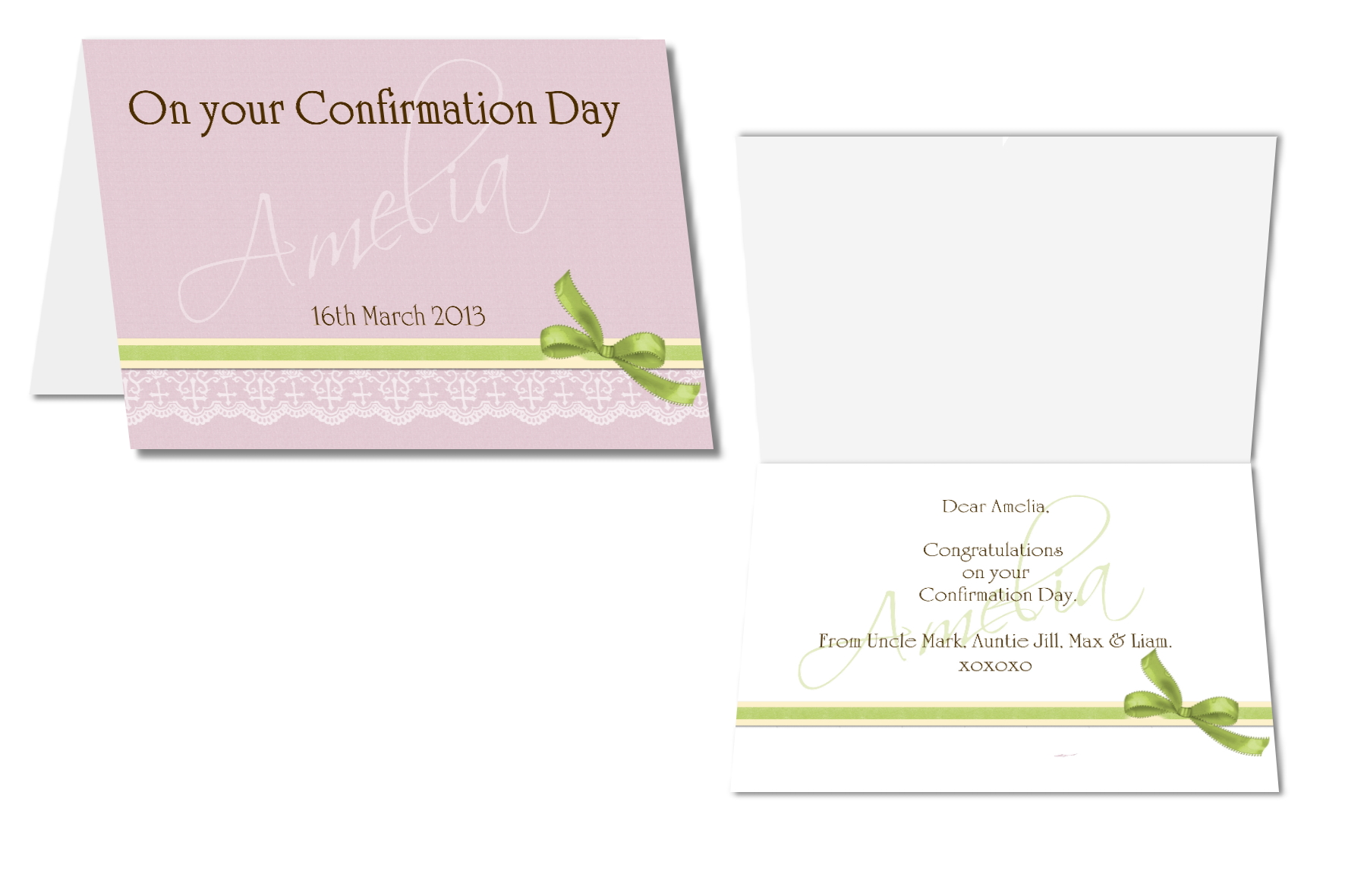 personalised communion card