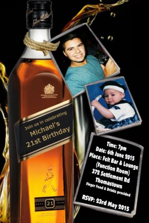 18th 21st 30th 40th 50th 60th johnny walker Birthday Invitations