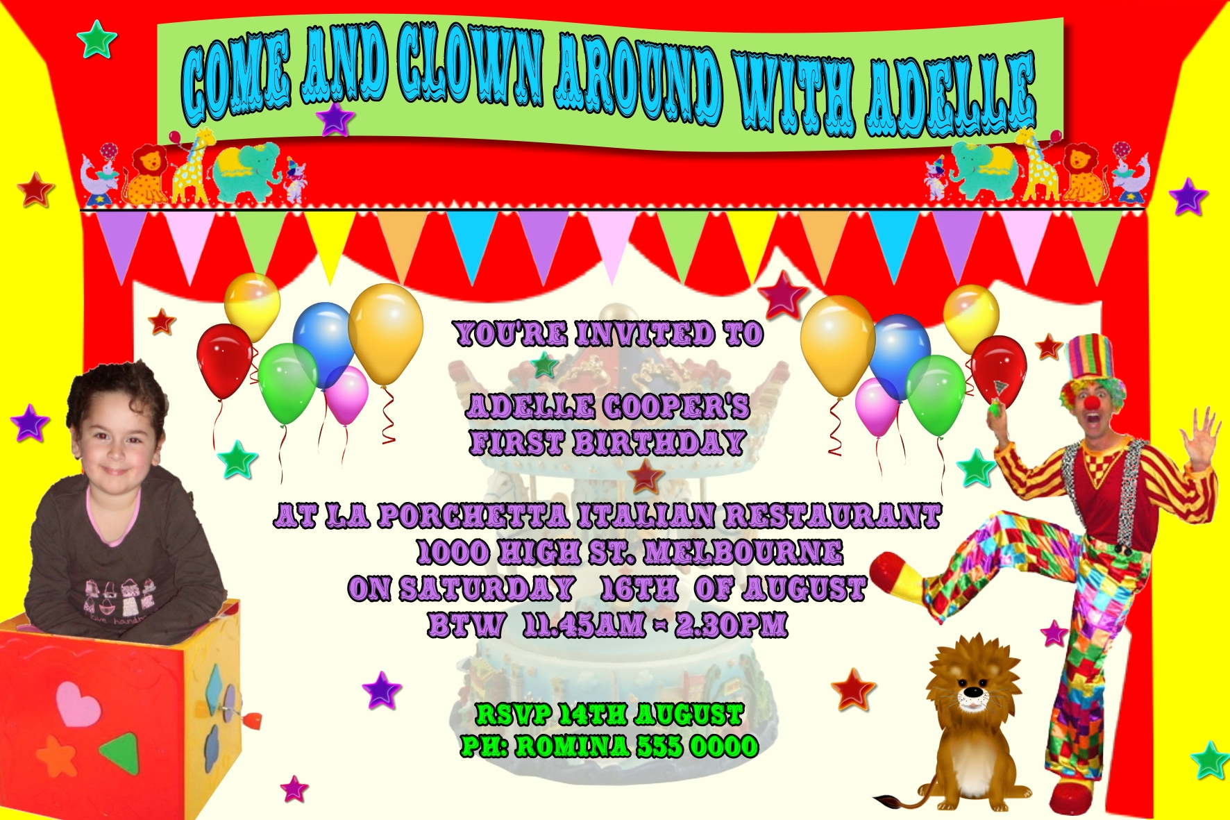 circus invitations