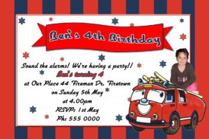 Fire Engine Invitations