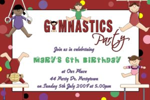 Gymnastics Invitations 01