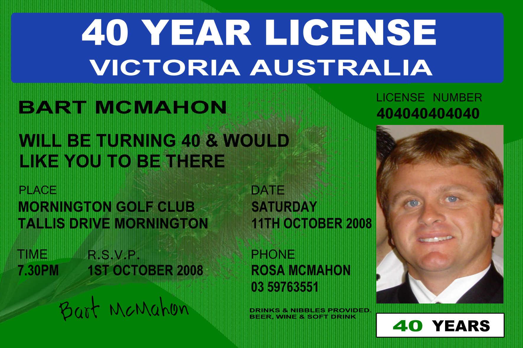 licence 18th 21st 30th 40th 50th 60th Birthday Invitations