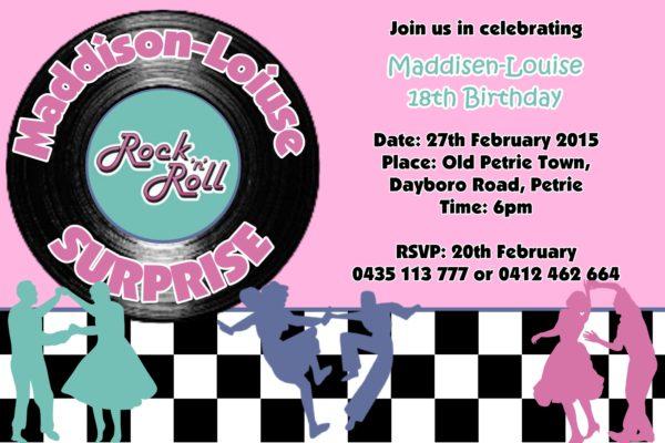 rock n roll invitations
